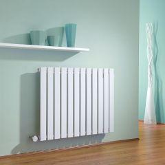 Milano Alpha - White Horizontal Single Slim Panel Electric Designer Radiator 635mm x 840mm