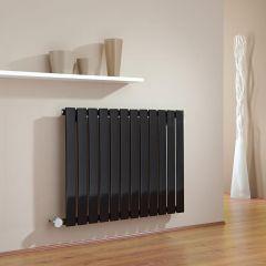Milano Alpha - Black Horizontal Single Slim Panel Electric Designer Radiator 635mm x 840mm