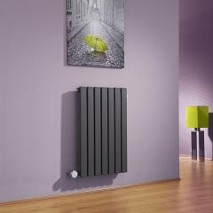 Milano Capri - Anthracite Flat Panel Bluetooth Equipped Electric Horizontal Designer Radiator - 635mm x 420mm