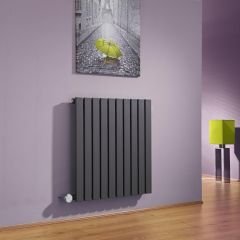 Milano Capri - Anthracite Flat Panel Bluetooth Equipped Electric Horizontal Designer Radiator - 635mm x 600mm
