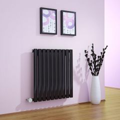 Milano Aruba - Black Bluetooth Equipped Electric Horizontal Designer Radiator - 635mm x 595mm