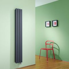 Milano Aruba Slim Electric - Anthracite Space-Saving Vertical Designer Radiator - 1600mm x 236mm (Double Panel)