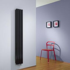 Milano Aruba Slim Electric - Black Space-Saving Vertical Designer Radiator - 1600mm x 236mm (Double Panel)