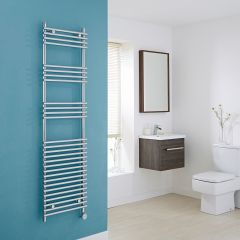 Kudox Electric - Chrome Flat Bar on Bar Heated Towel Rail - 1650mm x 450mm