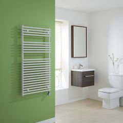 Kudox Electric - Flat White Bar on Bar Towel Rail - 1150mm x 600mm