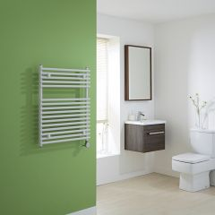 Kudox Electric - White Flat Bar on Bar Heated Towel Rail - 750mm x 600mm