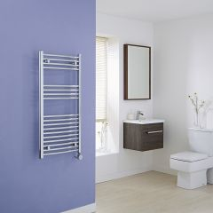 Milano Ribble Electric - Curved Chrome Heated Towel Rail 1000mm x 500mm