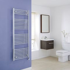 Milano Ribble Electric - Curved Chrome Heated Towel Rail - 1500mm x 600mm