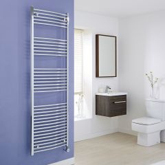 Milano Ribble Electric - Curved Chrome Heated Towel Rail - 1800mm x 600mm