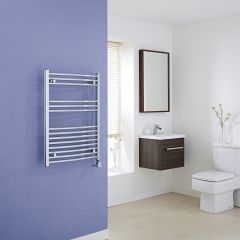 Milano Ribble Electric - Curved Chrome Heated Towel Rail - 800mm x 600mm