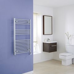 Milano Ribble Electric - Flat Chrome Heated Towel Rail - 1000mm x 600mm
