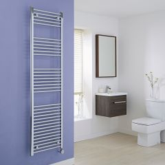 Milano Ribble Electric - Flat Chrome Heated Towel Rail - 1800mm x 500mm