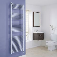 Milano Ribble Electric - Flat Chrome Heated Towel Rail - 1800mm x 600mm
