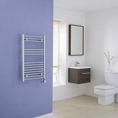 Milano Ribble Electric - Chrome Flat Heated Towel Rail - 800mm x 500mm