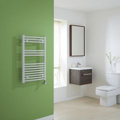 Milano Calder Electric - Curved White Heated Towel Rail - 800mm x 500mm