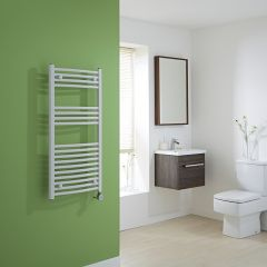 Milano Calder Electric - White Curved Heated Towel Rail - 1000mm x 500mm