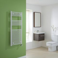 Milano Calder Electric - Curved White Heated Towel Rail 1200mm x 500mm