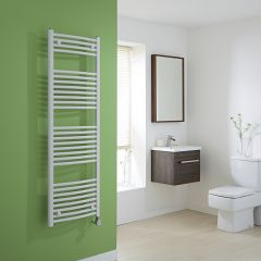 Milano Calder Electric - Curved White Heated Towel Rail - 1500mm x 500mm
