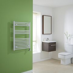 Milano Calder Electric - Curved White Heated Towel Rail - 800mm x 600mm