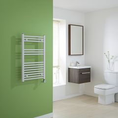 Milano Calder Electric - White Flat Heated Towel Rail - 800mm x 500mm