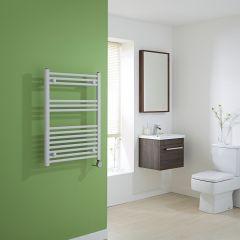 Milano Calder Electric - Flat White Heated Towel Rail - 800mm x 600mm