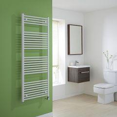 Milano Calder Electric - White Flat Heated Towel Rail - 1500mm x 600mm