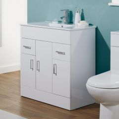 Milano 800mm Minimalist White Gloss Vanity Unit