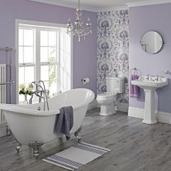 Milano Double Ended Claw Foot Slipper Bath With WC Toilet, Basin and Pedestal
