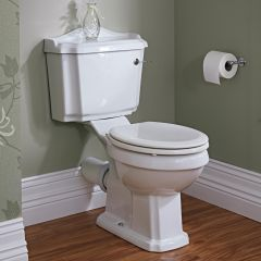 Milano Windsor - Close Coupled Toilet with Cistern and Wood Seat