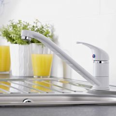 Milano Single Lever Kitchen Sink Mixer Tap with Swivel Spout - White