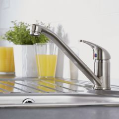 Milano Single Lever Kitchen Sink Mixer Tap with Swivel Spout - Nickel