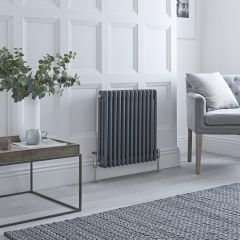 Milano Windsor - Traditional Anthracite Horizontal Column Radiator - 600mm x 585mm (Triple Column)