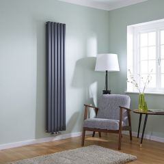 Milano Aruba Flow - Anthracite Vertical Double Middle Connection Designer Radiator 1780 x 354mm