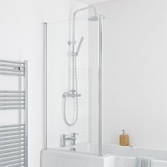 Milano Portland - L Shaped Shower Bath Screen - Easy Clean Glass