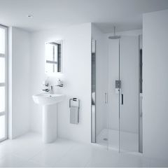 Milano Portland 800mm Double Hinged Shower Door 6mm