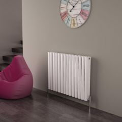 Milano Aruba Ayre - Aluminium White Horizontal Designer Radiator - 600mm x 830mm (Double Panel)