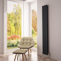 Milano Aruba Ayre - Aluminium Anthracite Vertical Designer Radiator - 1800mm x 230mm (Double Panel)
