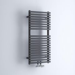 Milano Via - Anthracite Bar on Bar Central Connection Heated Towel Rail - 835mm x 400mm