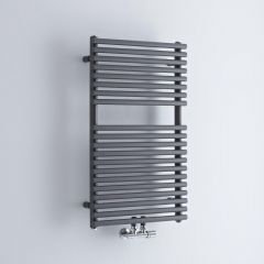 Milano Via - Anthracite Bar on Bar Central Connection Heated Towel Rail - 835mm x 500mm