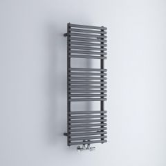 Milano Via - Anthracite Bar on Bar Central Connection Heated Towel Rail - 1065mm x 400mm