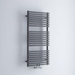 Milano Via - Anthracite Bar on Bar Central Connection Heated Towel Rail - 1065mm x 500mm