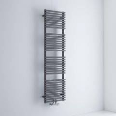 Milano Via - Anthracite Bar on Bar Central Connection Heated Towel Rail 1500mm x 400mm