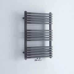 Milano Bow - Anthracite D-Bar Heated Towel Rail - 736mm x 500mm