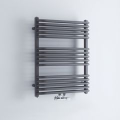 Milano Bow - Anthracite D-Bar Heated Towel Rail - 736mm x 600mm