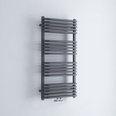 Milano Bow - Anthracite D-Bar Heated Towel Rail - 1000mm x 500mm