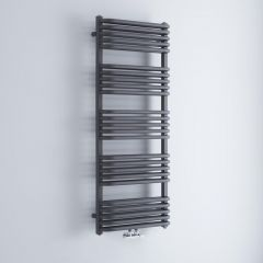 Milano Bow - Anthracite D-Bar Heated Towel Rail - 1269mm x 500mm