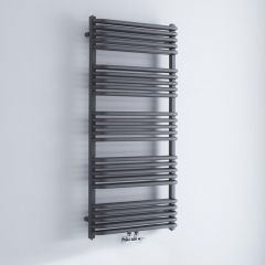 Milano Bow - Anthracite D-Bar Heated Towel Rail - 1269mm x 600mm