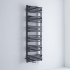Milano Bow - Anthracite D-Bar Heated Towel Rail - 1533mm x 500mm