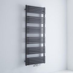 Milano Bow - Anthracite D Bar Heated Towel Rail 1533mm x 600mm