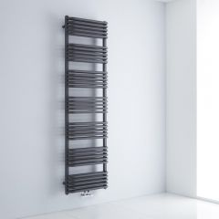 Milano Bow - Anthracite D-Bar Heated Towel Rail - 1800mm x 500mm